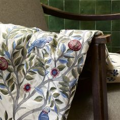 Shop for Fabric at Style Library: Kelmscott Tree by Morris & Co. Kelmscott Tree is a new design by Alison Gee. Inspired by Morris bed curtains at . Painted Rug, British Design, Floral Textile, Pattern Wallpaper, Fabric Wallpaper, Fabric Trimmings, Fabric, Art Deco Design, William Morris Designs