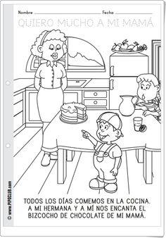 Día de la Madre (Fichas para colorear de Pipoclub) Cultural, Comics, 2016 Calendar, Social Studies, Teaching Resources, Colouring In, One Day, Note Cards, Learning