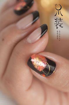 紅葉 J Nails, Love Nails, Manicure, Japan Nail, Nail Techniques, Japanese Nail Art, Nail Patterns, French Tip Nails, Black Nails