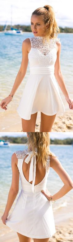 White Lace dresses, A Line dresses, Short White Dresses, Open Back Dresses, White Short Dresses, Short White Lace dresses, A Line Lace Cute Short White Open Back Homecoming/Cocktail Dresses,Sweet 16 Dress