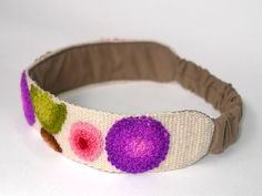 Hand embroidered headband white with circles by EmbroideryPeru