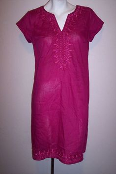 eShakti Top S Magenta Embroidery Boho Cotton Peasant Tunic Shirt Blouse or Dress #eShakti #Blouse #Casual