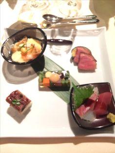鮪と真鯛のお造り 縁起野菜の煮こごり 鰻寿司 合鴨醤油煮と茄子の田楽 海老と銀杏の茶碗蒸し@KAWABUN