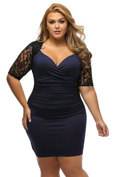 BIG'n'TRENDY Stunning Black Blue Ruched Lace Illusion Plus Dress