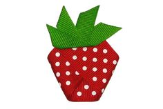 Little Girls Strawberry Ribbon Barrette