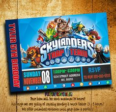 Invitations  Skylanders Trap Team Invitation  by fiestaprintable