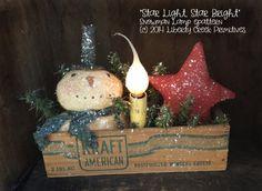 Primitive Snowman and Star Cheesebox Lamp Epattern $2.00