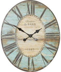 Large Wall Clock Kitchen Retro Picture Shabby Chic Cafe Decor Vintage Beach NEW Shabby Chic Cafe, Shabby Chic Wall Clock, Shabby Chic Beach, Farmhouse Wall Clocks, Kitchen Wall Clocks, Rustic Wall Clocks, Rustic Walls, Diy Wall Clocks, Wood Clocks