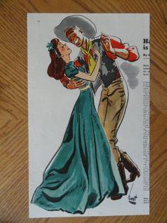 Earl Oliver Hurst, Color Illustration, Print Art (man and woman dancing) Orinigal Vintage 1940 Collier's Magazine Art. Retro Cartoons, Old Cartoons, Vintage Cartoon, Vintage Art, Art Deco Illustration, American Illustration, Vintage Illustrations, Pin Up Poses, Character Design References
