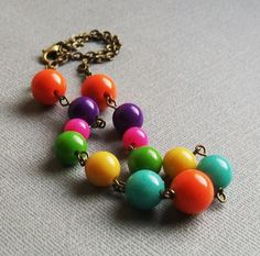 Colorful Chunky Beaded Necklace Bright Fun by lakeshorecreations4u, $20.00