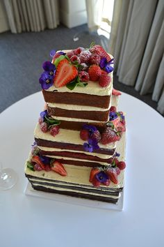 Naked square wedding cake