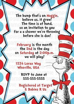 Dr Seuss Cat in the Hat Personalized Custom Baby Shower Party Invitation Digital on eBay!