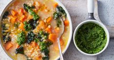 Ward off those winter blues with this power soup, packed with sweet potato, barley and kale.