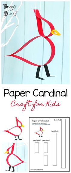 Paper Strip Cardinal Craft for Kids: Make this cute bird craft using just construction paper or cardstock and glue! This easy cardinal craft for children includes a free printable template and is perfect as a winter craft, a great addition to a unit on birds, and even makes a pretty Christmas ornament! ~ BuggyandBuddy.com via @https://www.pinterest.com/cmarashian/boards/