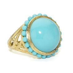 Elizabeth Showers: 18kt gold round turquoise Tree of Life ring with tiny turquoise cabachons.