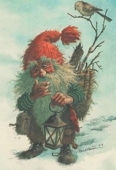 My Collection (Kjell Midthun, Johnnie Jacobsen, other Norwegian & Danish artists) - Guillaume Tell - Picasa Web Albums Yule, Christmas Pictures, Christmas Art, Vintage Christmas, Norwegian Christmas, Scandinavian Christmas, Kobold, Elves And Fairies, Theme Noel