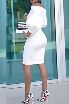 Lantern Sleeve Mini Dress From dream wedding dresses and party dresses to perfect prom dresses and evening dresses, you're sure to find a fabulous style to match every occasion. Girly Outfits, Classy Outfits, Chic Outfits, Dress Outfits, Fashion Outfits, All White Party Outfits, African Fashion Dresses, African Dress, White Dress Outfit