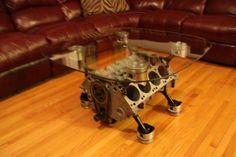 32 new Ideas diy table basse originale Engine Block Table, Engine Coffee Table, Diy Coffee Table, Diy Table, Rooms Home Decor, Cheap Home Decor, Diy Home Decor, Car Furniture, Automotive Furniture