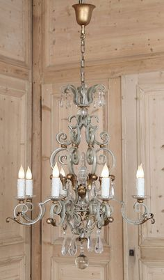 Antique Country French Wrought Iron & Crystal Chandelier | Antique Lighting | Inessa Stewart's Antiques
