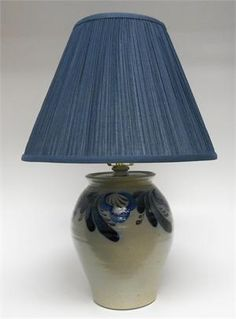 """Eldreth Pottery - 8"""" Tall Salt-glazed Stoneware Lamp with Shade (8"""" Shade included) (One of a Kind)-1"""