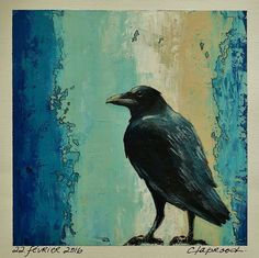 Small black bird painting, Picture black crow, Raven art, Rustic home decor, Wall art bird, Acrylic on canvas, Teal blue beige, 6x6 + a mat