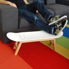 Skateboarder decorating boys and girls bedroom ideas: Add style and comfort with skateboard stools for the skater fan, Get a room with style.