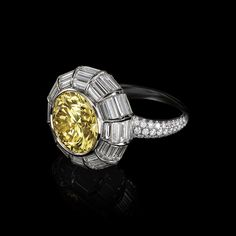 Tiffany 2016 Blue Book Ring in platinum with a 5.67-carat Fancy Vivid Yellow diamond.