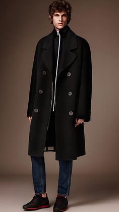 Black Double-breasted Wool Cashmere Overcoat - Image 1
