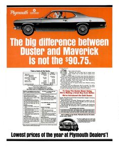 1970 Plymouth Duster vintage advertisement