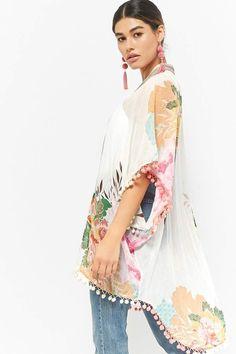 0811af10562 Forever 21 Z L Europe Stripe-Trim Kimono Quirky Fashion