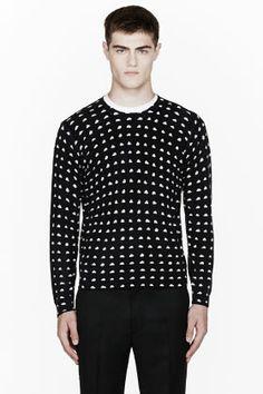 KENZO Black Cashmere Mini-Cloud Print Crewneck Sweater