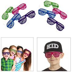 Dazzling Toys Slotted Toy Sunglasses Party Favors Costume - Pack of 36 - Assorted Colors: Assorted colors of purple, blue, pink and green. Each measures great for party favors pack of Manufacturer by Dazzling Toys Custom Wedding Favours, Beach Wedding Favors, 80s Party Costumes, Wedding Sunglasses, Novelty Sunglasses, Fun Games For Kids, Kid Games, Vintage Circus, Backdrops For Parties