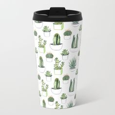 Talk about steely good looks. In addition to a 360-degree wraparound design, our metal travel mugs are crafted with lightweight stainless steel - so they're pretty much indestructible. Plus, they're double-walled to keep drinks hot (or cold), fit in almost any size cup holder and are easy to clean. Watercolor Cactus, Watercolour, Cacti And Succulents, Zero Waste, Travel Mug, Plastic, Tips And Tricks, Pen And Wash, Watercolor Painting