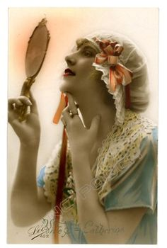 beautiful flapper woman checks face in mirror tinted real photo postcard | eBay