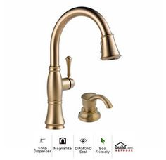 Delta 9197-DST-SD Cassidy Pullout Spray Kitchen Faucet with MagnaTite Docking, Diamond Seal and Touch Clean Technologies - Includes Soap Dispenser Image
