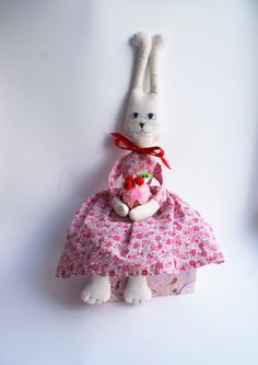 Primitive Rabbit Doll Toy by LesFleursOrange on Etsy, $26.00