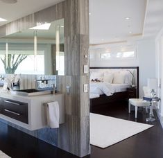 Contempory bedroom / bathroom