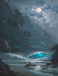 Waikiki, Hawaii, this looks like it could have been photoshopped. The moon's edge's look uneven but it is still a pretty photo.