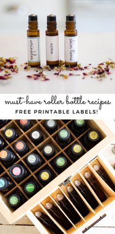 5 must-have essential oil roller bottle blends for moms! These 5 blends will cover the basics and be ones you will need everyday. Get free printable labels for the roller bottles and a printable recipe card. #rollerbottles #printablelabels #essentialoils #rollerballs