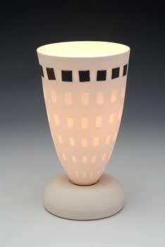 Bone china lamp with black squares