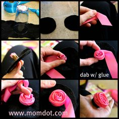10 great fabric flower tutorials ribbon rose rose tutorial and how to make a ribbon rosette tutorial including do it yourself for zipper rosette silk ribbon rosettes grosgrain flowers and how to add to a hairclip mightylinksfo