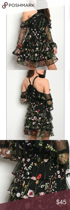 🌟BLACK FLORAL DRESS ***Boutique items  Fabric content : 100% polyester   - Long sleeve a line cut mesh dress that feature cold shoulder and a halter neckline,  along with floral mebroidery throughout. Dresses Mini
