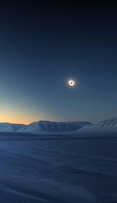 """""""Eclipse Totality Over Sassendalen""""//Sassendalen is a valley at Spitsbergen, Svalbard. The valley is among the largest valleys of Svalbard, and continues westwards into Sassenfjorden. Part of the valley divides Sabine Land and Nordenskiöld Land Svalbard Norway, Nordic Lights, Space Photos, Midnight Sun, Winter Beauty, Winter Wonder, Stars At Night, Nature Images, Winter Landscape"""