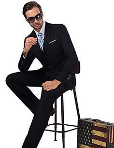 Costumes Coupe Sur-Mesure Cranté Droit 1 bouton Viscose / Serge Couleur Pleine 3 Pièces Noir Poche Plaquée Aucun (Plat) Noir Aucun (Plat)