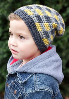 Patons Classic Wool DK - Plaid Slouchy Beanie (crochet)/i love this color pattern Plaid Crochet, Crochet Kids Hats, Crochet Winter, Crochet For Boys, Free Crochet, Knit Crochet, Free Knitting, Kids Crochet Hats Free Pattern, Slouchy Beanie Pattern