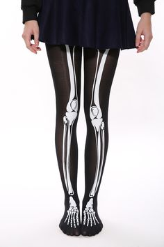 This item is shipped immediately, including the weekends. These fun novelty tights feature a quirky skeletal design on each leg. These are perfect for a costume party or halloween or if you just feel Skeleton Halloween Costume, Halloween Party, Halloween Stuff, Halloween Halloween, Vintage Halloween, Halloween Makeup, Punk Fashion, Gothic Fashion, Skeleton Tights