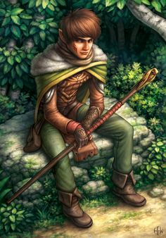 Masen, Half Elf Wizard by AlvinHew. Maub the halfing explorer for the pioneer guild in Crossroads