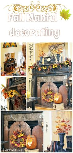 #Fall mantel decor ideas #Fall mantel decor ideas & Fall Mantel Ideas | Mantels Hydrangea and Paper leaves