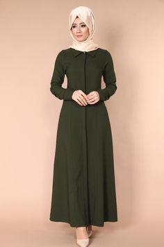 C.M.N - Kolları Nervülü Pardesü Ferace TUA8458 Haki Arab Fashion, Muslim Fashion, Modest Fashion, Fashion Dresses, Womens Fashion, Hijab Dress, Hijab Outfit, The Dress, Dress Skirt
