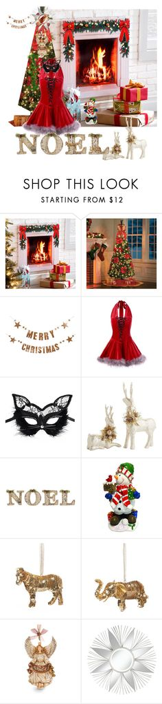 """joyeux Noel"" by mariesharma ❤ liked on Polyvore featuring Improvements, Bloomingville, Masquerade, Pier 1 Imports, A by Amara, National Tree Company and Jay Strongwater"